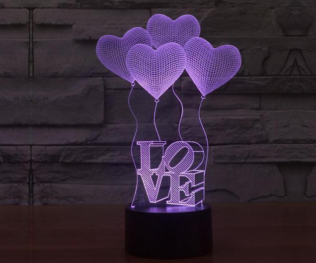 מנורת לד אהבה תלת מימדתמונה של