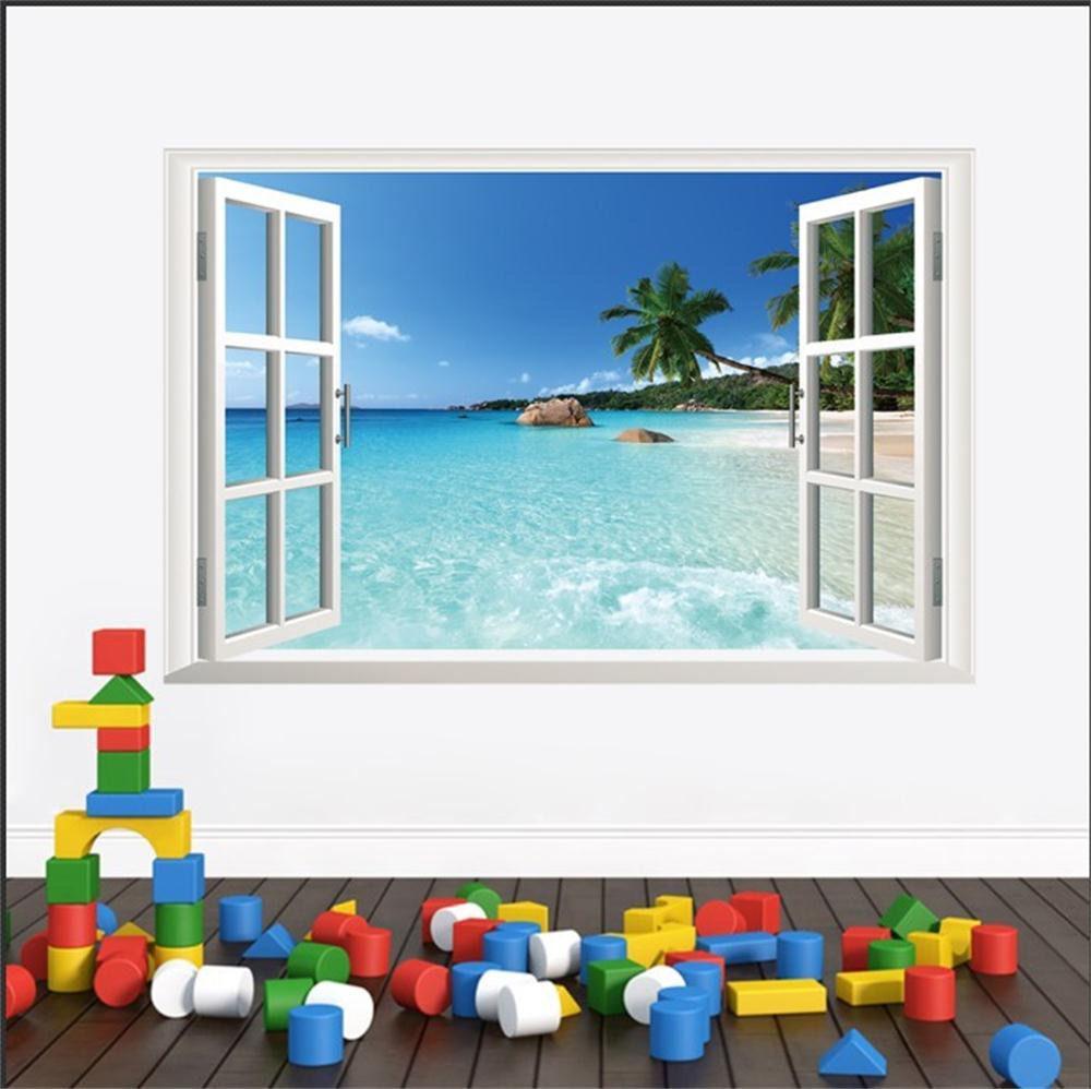מדבקות קיר תלת מימד חלון באי קסוםתמונה של