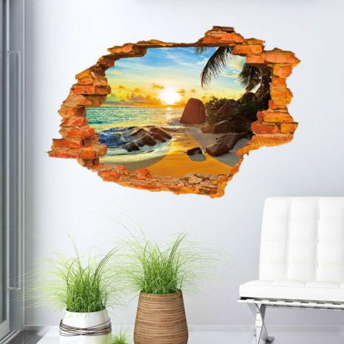 מדבקות קיר תלת מימד חוף ים